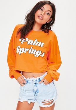 Orange Palm Springs Cropped Sweatshirt