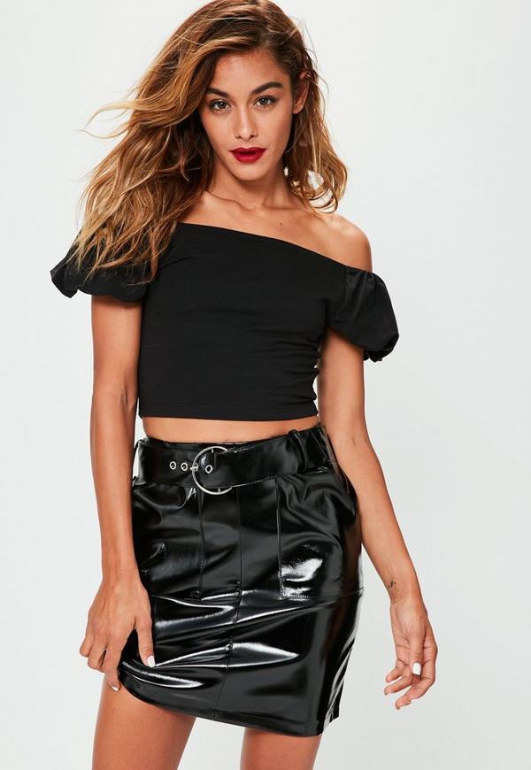 Black Puffball Sleeve Bardot Top