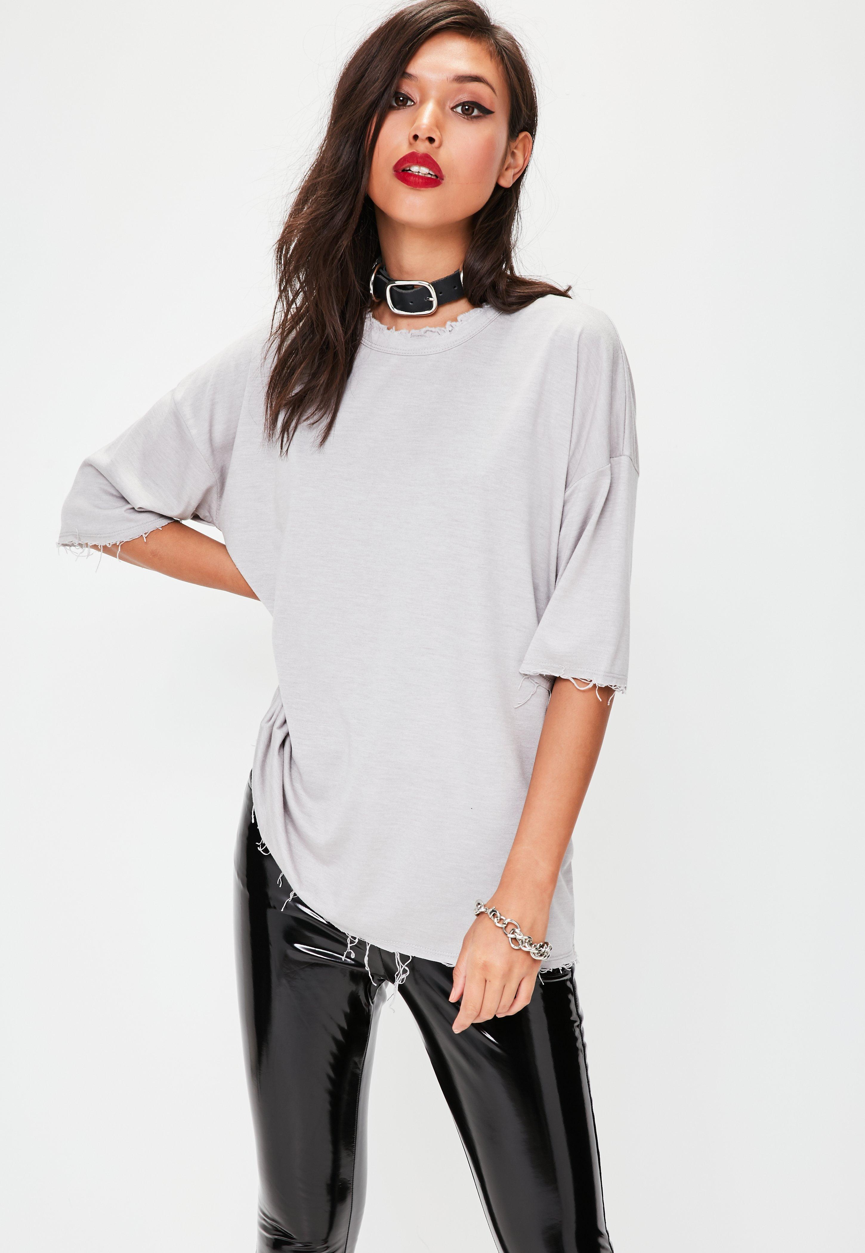 Grey Distressed Oversized T Shirt Missguided