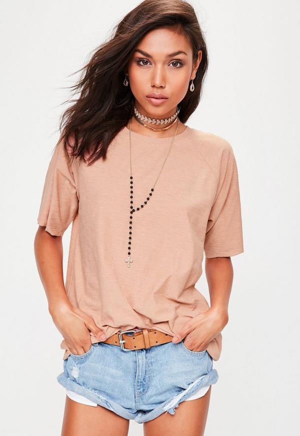 Pink Slub Oversized T-Shirt