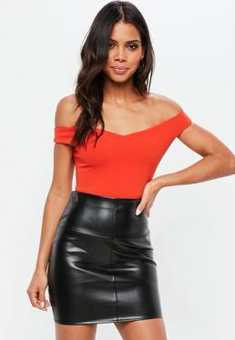 Orange Bardot Crepe Bodysuit