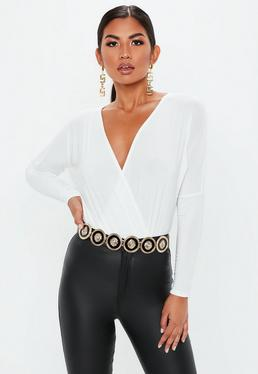 White Jersey Wrapped Blouse Bodysuit