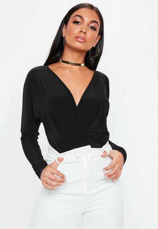 Black Jersey Wrapped Blouse Bodysuit