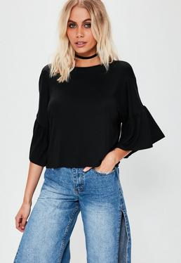 Black Fluted Drop Shoulder Sleeve Top