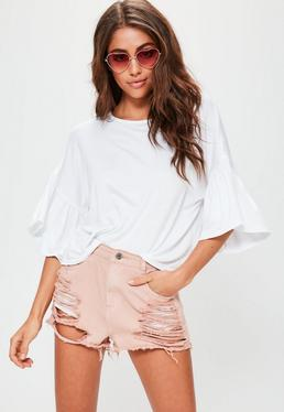 White Fluted Drop Shoulder Sleeve T-Shirt