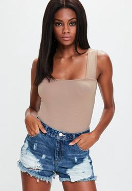 Camel Square Neck Bodysuit