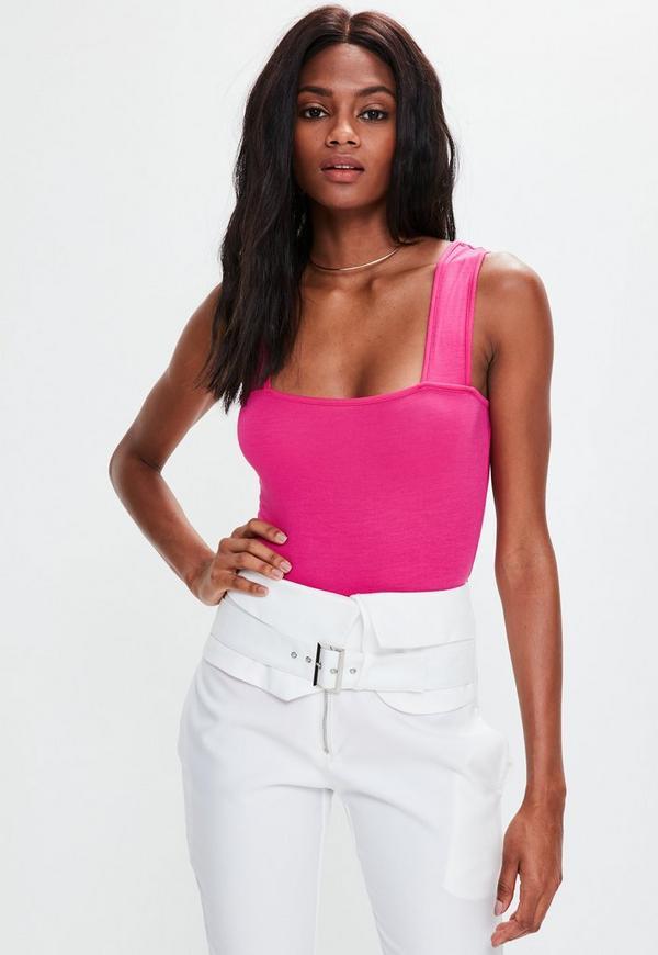 Pink Square Neck Bodysuit