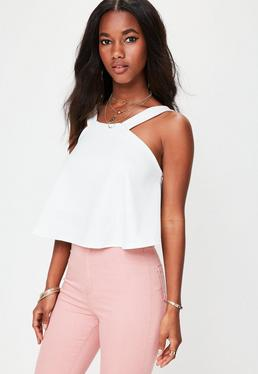 White High Neck Swing Top