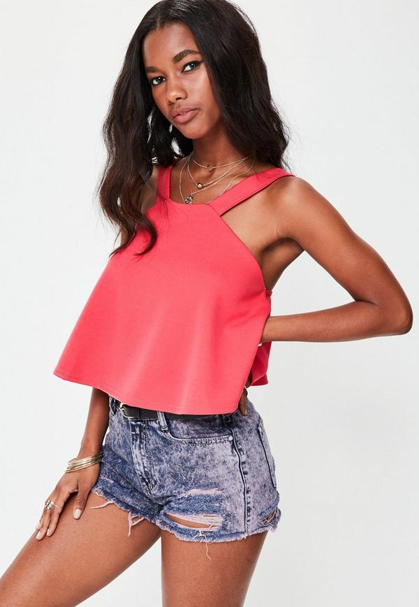 Pink High Neck Swing Top