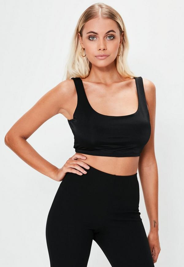 Black Slinky Scoop Neck Bralet