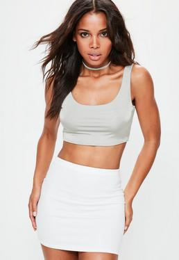 Grey Slinky Scoop Neck Bralet