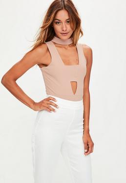 Nude Choker Cut Out Bodysuit