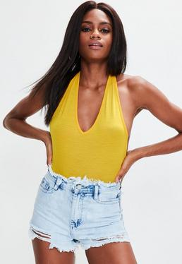 Yellow Deep Plunge Halterneck Bodysuit