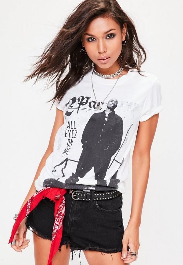 White 2Pac Graphic T-Shirt