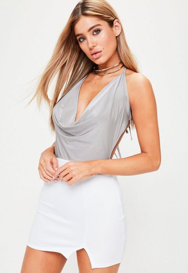 Grey Backless Cowl Front Bodysuit