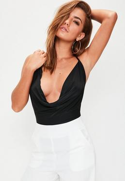 Black Backless Cowl Front Bodysuit