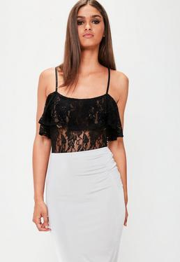 Black Lace Frill Bardot Bodysuit