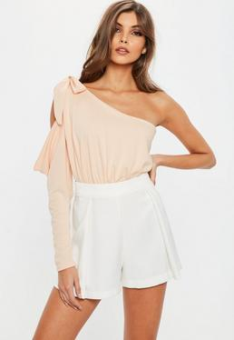 Nude Asymmetric One Shoulder Bodysuit