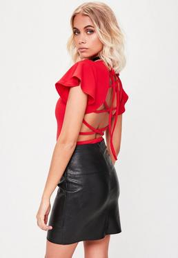 Red Flare Sleeve Lace Up Back Bodysuit