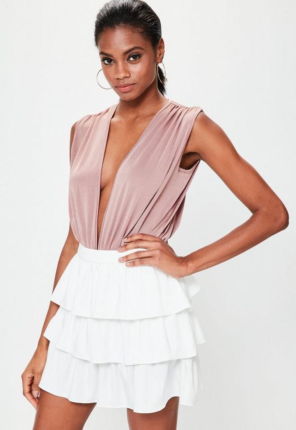 Pink Deep Plunge Pleat Detail Sleeveless Bodysuit