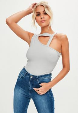 Grey Asymmetric Band Bodysuit