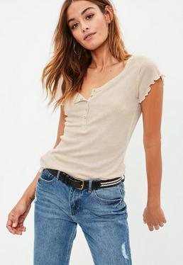 Nude Lettuce Hem Ribbed T-Shirt