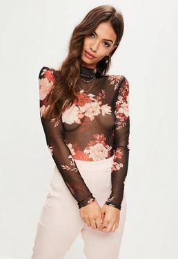 Black Floral Print Mesh Bodysuit