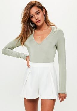 Khaki Plunge Embellished Shoulder Bodysuit