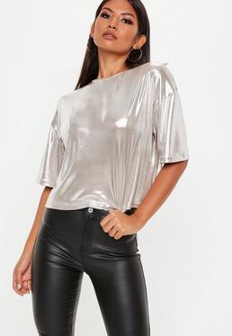 Silver Metallic Foil Rib Crop Top
