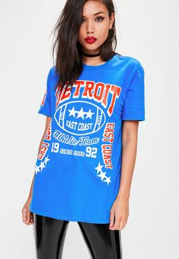 Blaues T-Shirt mit Detroit-Grafik