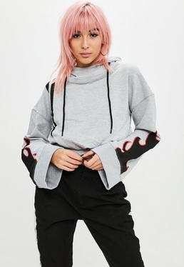 Gray Graphic Print Cropped Hoody