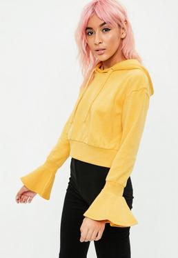 Yellow Flare Cuff Detail Cropped Hoodie