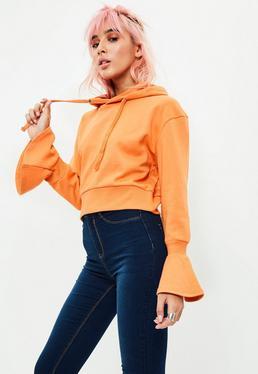 Orange Flared Cuff Detail Cropped Hoodie