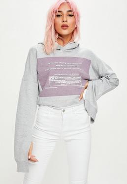 Grey Colour Box Slogan Cropped Hoodie