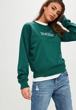 Green Embroidered Slogan Jumper