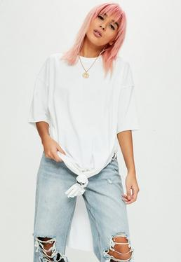 White Embroidered Slogan Knot T-Shirt