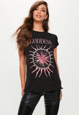 Black Goddess Graphic Oversized T-Shirt