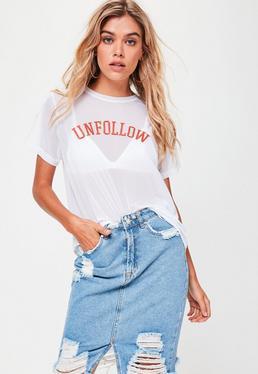 Biały przezroczysty T-Shirt Unfollow