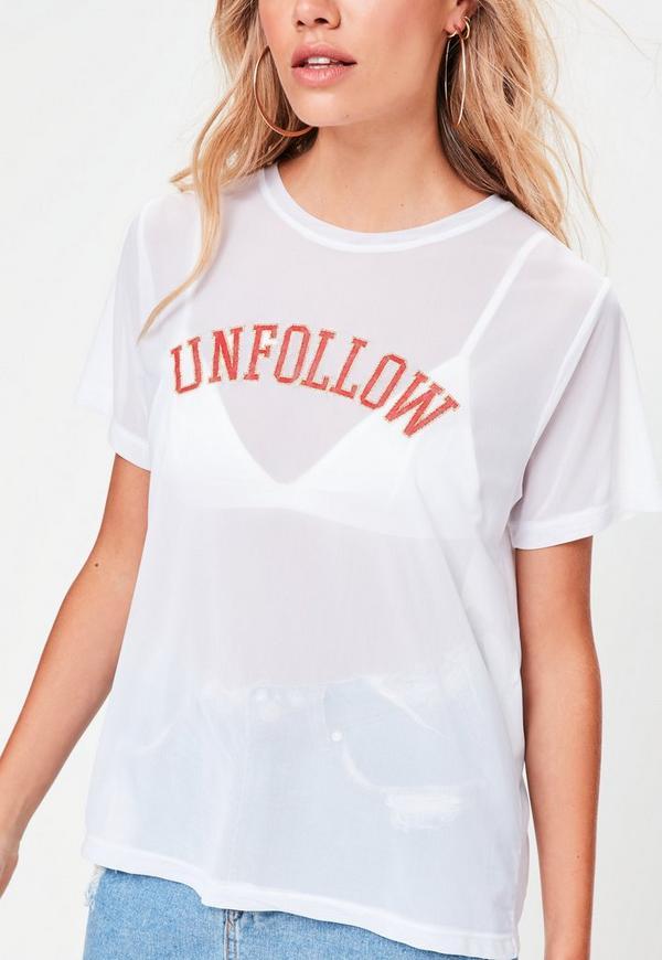 White unfollow slogan embroidered mesh t shirt missguided for Embroidered mesh t shirt