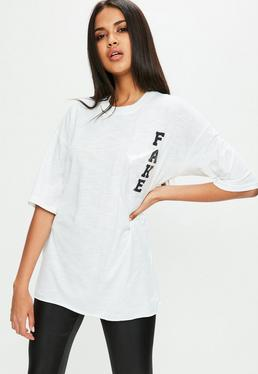 Biały owersajzowy T-shirt