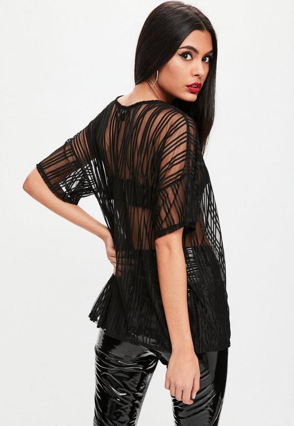 Black Striped Mesh Oversized T Shirt Missguided