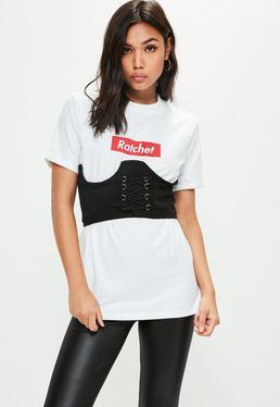 Biały gorsetowy T-Shirt Ratchet