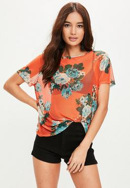 Orange Floral Printed Mesh T-Shirt