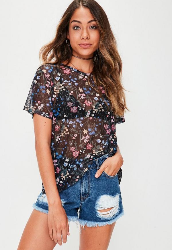 Black Floral Mesh T-shirt