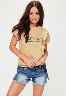 Hellbraunes Merci Slogan T-Shirt