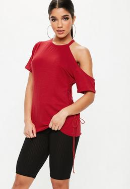 Black Lace Up Side Tunic Top