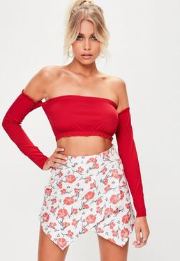 Red Bardot Frill Ribbed Bralet
