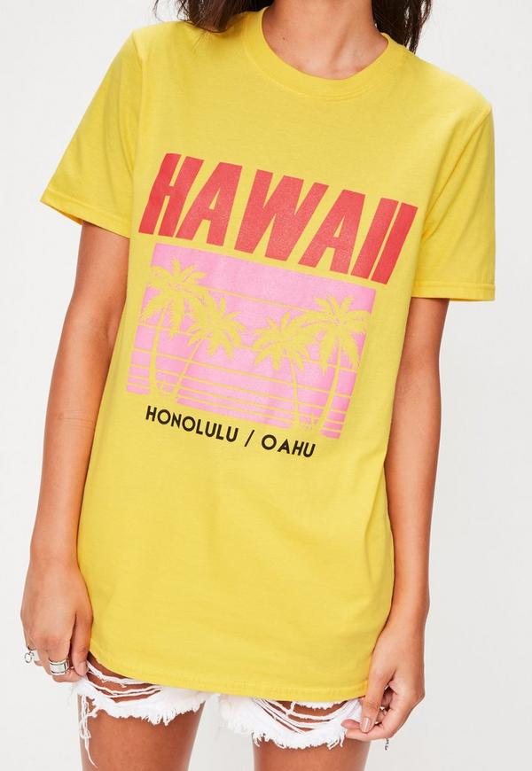 Yellow hawaii graphic t shirt missguided for Hawaiian graphic t shirts