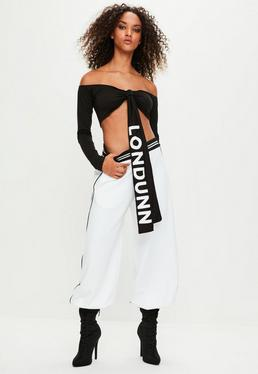 Londunn + Missguided Black Long Sleeve Knot Front Crop Top