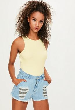 Londunn + Missguided Yellow Ribbed Bodysuit
